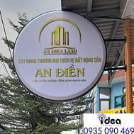 Mẫu biển hiệu quảng hộp đèn tròn nổi bật, đơn giản