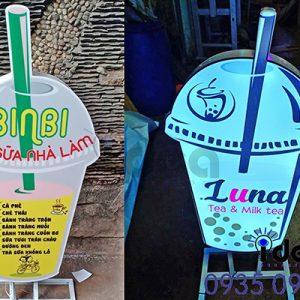 Bảng hiệu quán ăn vặt đẹp hộp đèn trà sữa