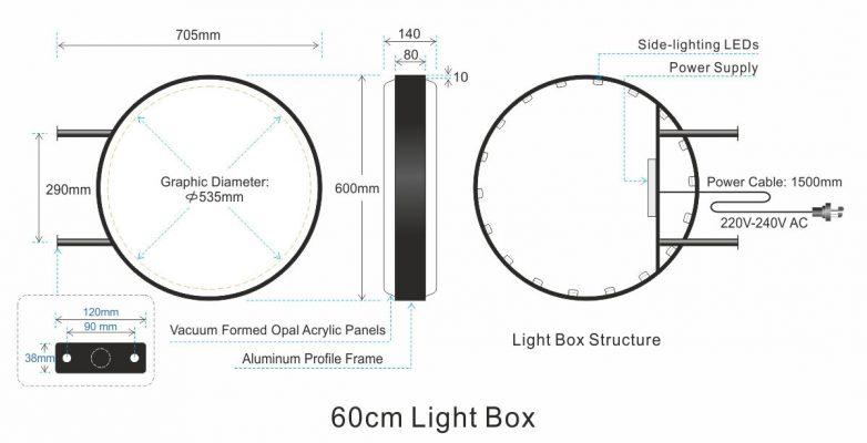 kết cấu hộp đèn hút nổi và quy cách