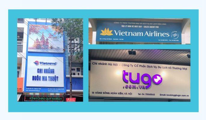 Mẫu Bảng, biển hiệu công ty du lịch đẹp